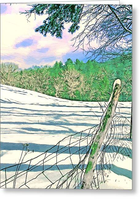 Impressions Of A Snow Covered Farm Greeting Card by John Haldane