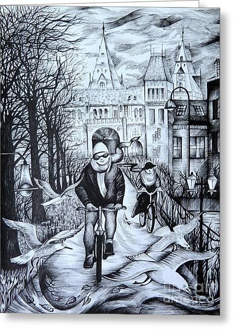 White River Scene Drawings Greeting Cards - Impressions of Amsterdam Greeting Card by Anna  Duyunova