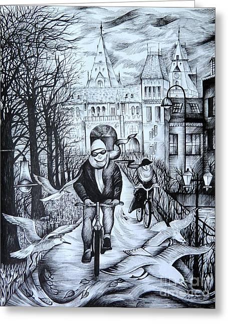 Anna Duyunova Art Greeting Cards - Impressions of Amsterdam Greeting Card by Anna  Duyunova