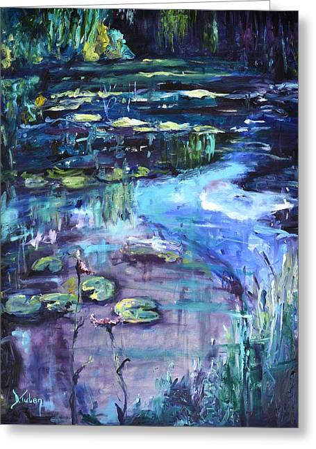 Water Flowing Greeting Cards - Impressions of Giverny Greeting Card by Donna Tuten