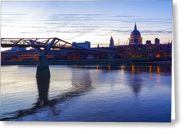 Gloaming Greeting Cards - Impressions of London in Purple Greeting Card by Georgia Mizuleva