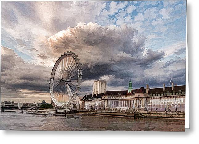 Turbulent Skies Greeting Cards - Impressions of London - London Eye Dramatic Skies Greeting Card by Georgia Mizuleva