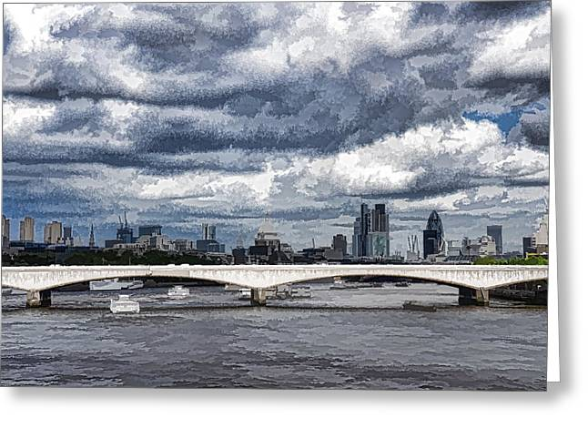 Turbulent Skies Greeting Cards - Impressions of London - Stormy Skies Skyline Greeting Card by Georgia Mizuleva