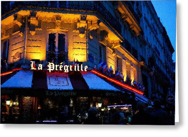 Night Cafe Digital Art Greeting Cards - Impressions of Paris - Latin Quarter Night Life Greeting Card by Georgia Mizuleva