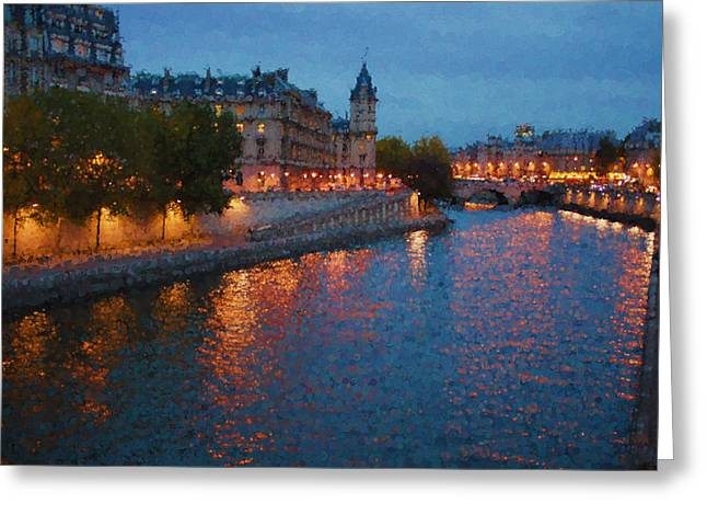 Night Lamp Greeting Cards - Impressions of Paris - Shimmering Seine River at Night Greeting Card by Georgia Mizuleva