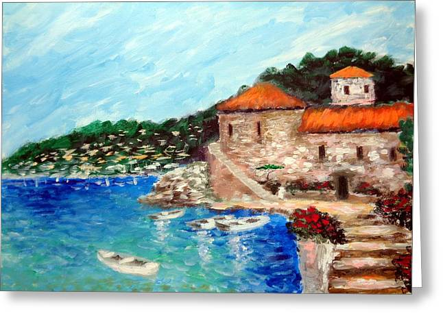 Impressions Of The Mediterranean Greeting Card by Larry Cirigliano