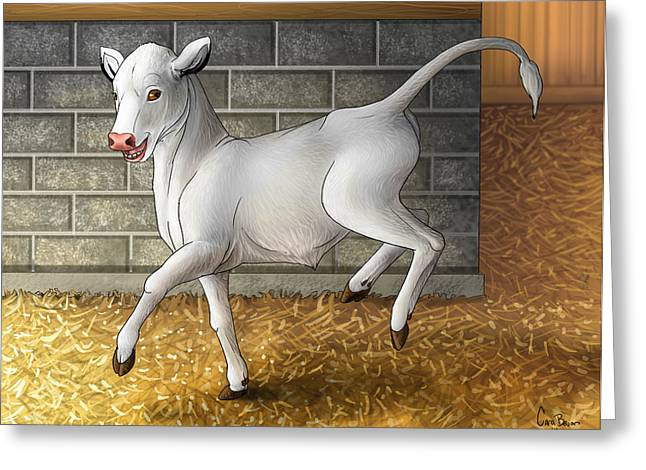 Barn Dance Greeting Cards - Improbable- Blissful as a Child Greeting Card by Cara Bevan