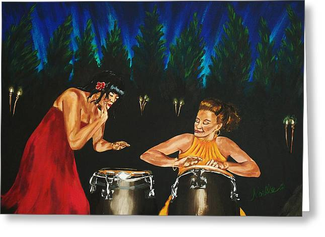 Woman Drumming Greeting Cards - Impromptu Duet Greeting Card by Noelle Rollins