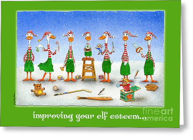 improving your elf esteem...by Will Bullas Greeting Card by Will Bullas