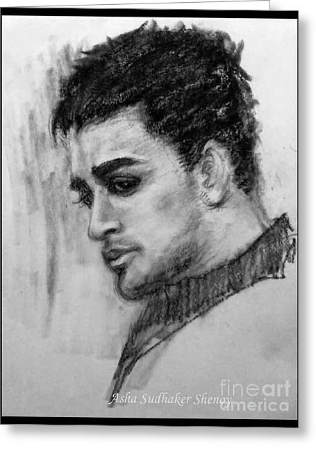 Conte Pencil Drawings Greeting Cards - Imran Khan Actor Greeting Card by Asha Sudhaker Shenoy