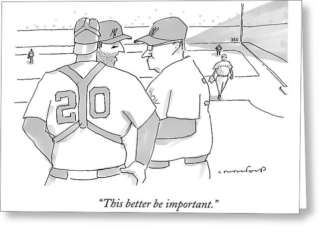 In A Baseball Game Greeting Card by Michael Crawford