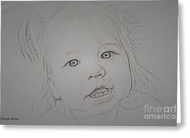 Nursery Design Greeting Cards - In a  Child s Eyes Greeting Card by Cheryl Young