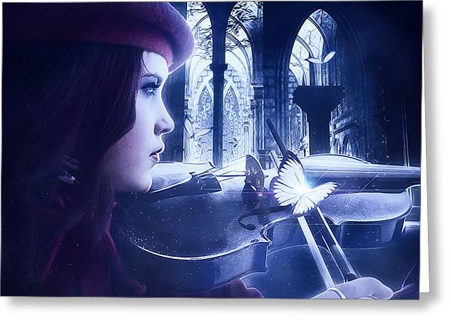 Violine Greeting Cards - In a cold night Greeting Card by Celairen Spies