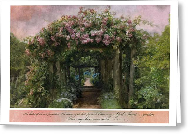 Trellis Greeting Cards - In A Garden Greeting Card by Robin-lee Vieira