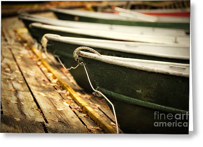 Boats In Water Photographs Greeting Cards - In a line Greeting Card by Todd Bielby