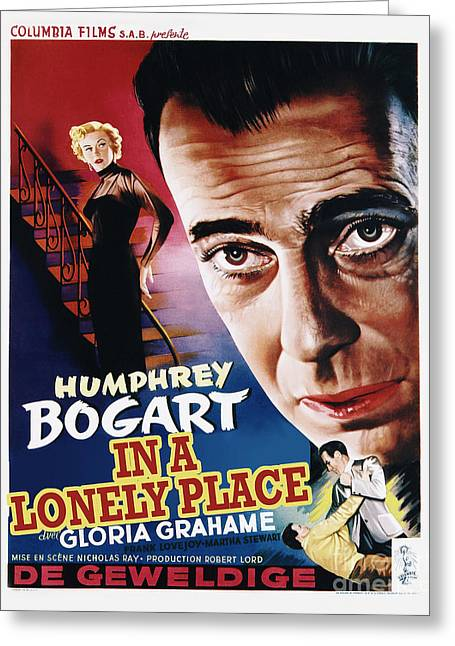 Classic Hollywood Photographs Greeting Cards - In a Lonely Place Movie Poster - Bogart Greeting Card by MMG Archive Prints
