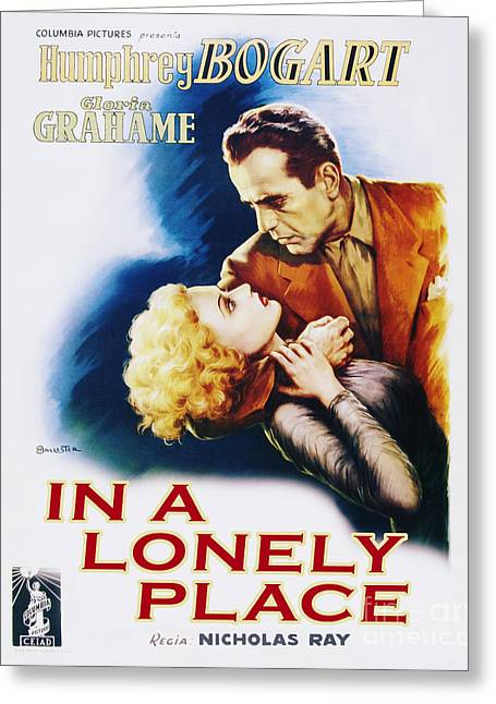 Classic Hollywood Photographs Greeting Cards - In a Lonely Place Movie Poster Bogart Grahame Greeting Card by MMG Archive Prints