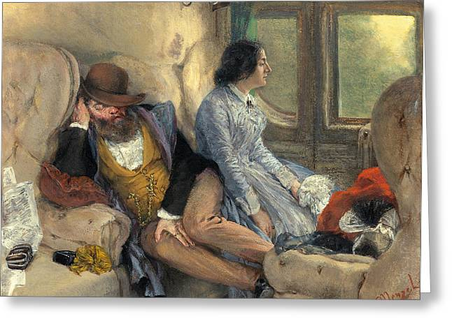 Adolph Greeting Cards - In a Railway Carriage after a Nights Journey Greeting Card by Adolph von Menzel