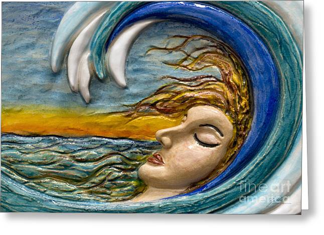 Abstract Waves Sculptures Greeting Cards - In a Wave Greeting Card by Suzette Kallen