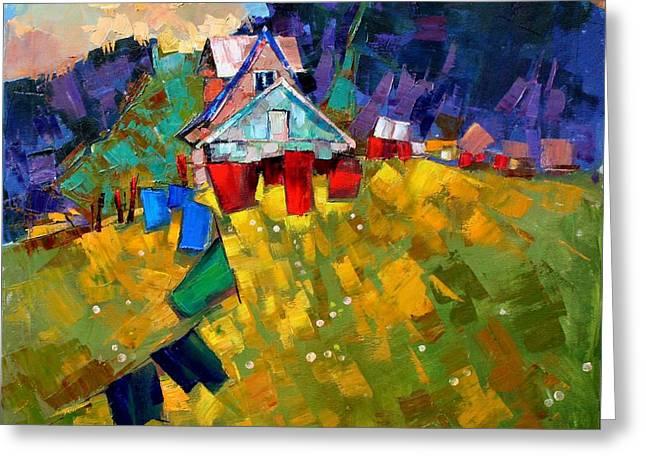 Shed Paintings Greeting Cards - In anticipation of the season Greeting Card by Anastasija Kraineva
