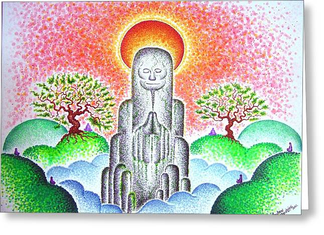 Monolith Drawings Greeting Cards - In Awe of Silent Spaces Greeting Card by Andrew Zeutzius