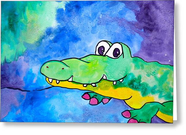 Youthful Mixed Media Greeting Cards - In Awhile Crocodile Greeting Card by Debi Starr