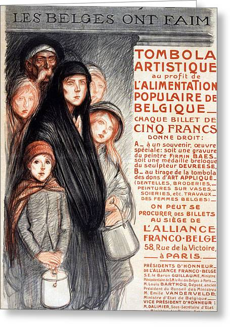 In Belgium The Belgians Are Hungry, 1915 Greeting Card by Theophile Alexandre Steinlen