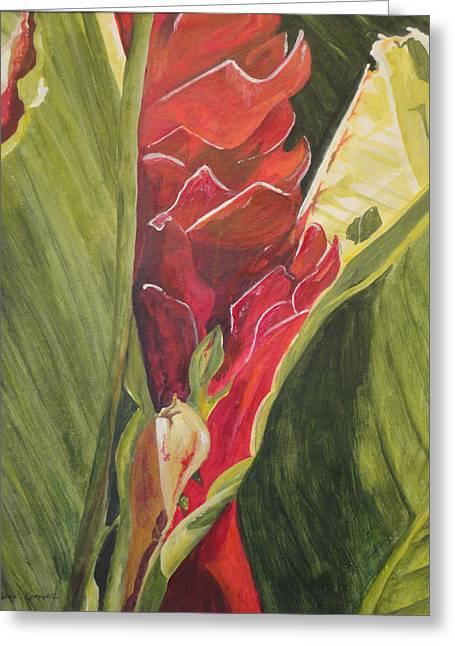 Bromeliad Paintings Greeting Cards - In-Between Greeting Card by Barbara Koepsell