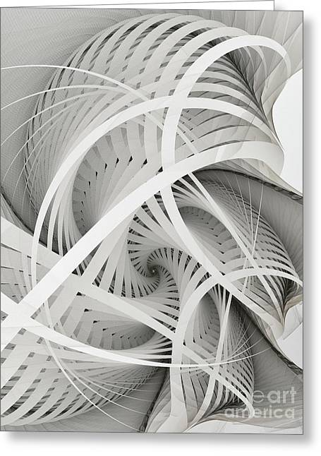 Large Sized Greeting Cards - In Betweens-White Fractal Spiral Greeting Card by Karin Kuhlmann