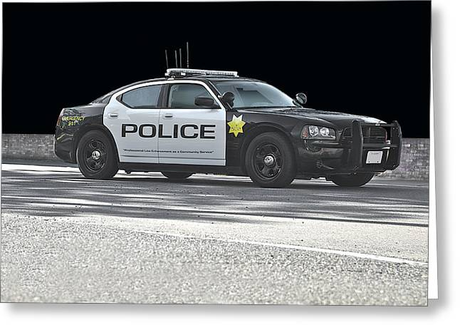 Police Car Greeting Cards - In Black and White Greeting Card by Dave Koontz