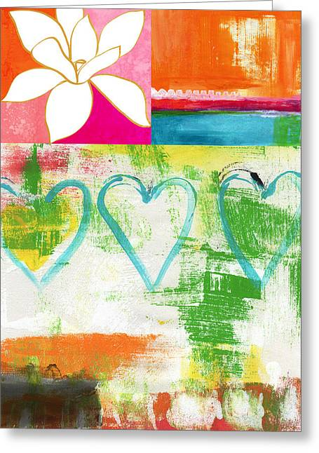 Teen Greeting Cards - In Bloom- colorful heart and flower art Greeting Card by Linda Woods