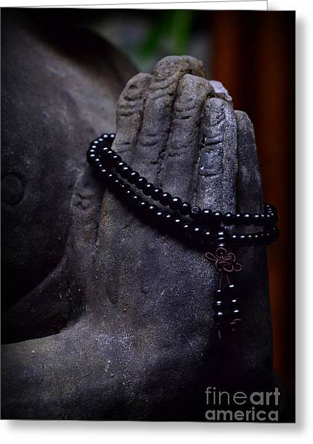 Prayer Beads Greeting Cards - In Buddhas Hand Greeting Card by Paul Ward