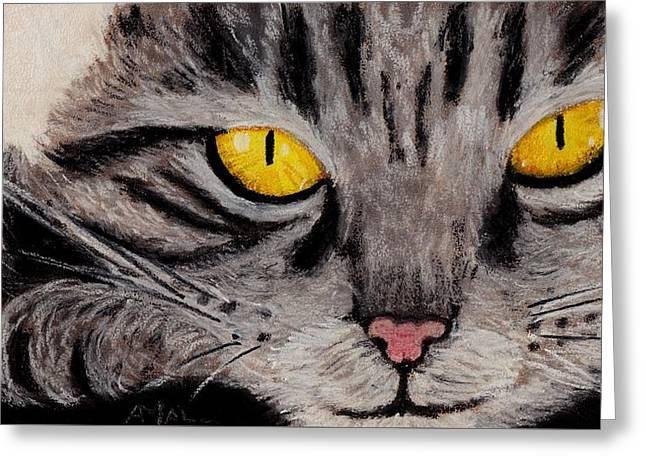 Cute Kitten Pastels Greeting Cards - In Cats Eyes Greeting Card by Anastasiya Malakhova