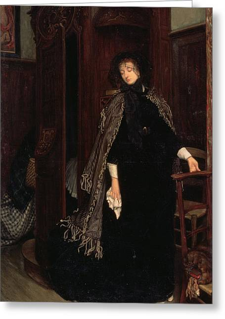L.a. Woman Greeting Cards - In Church, 1865 Greeting Card by James Jacques Joseph Tissot