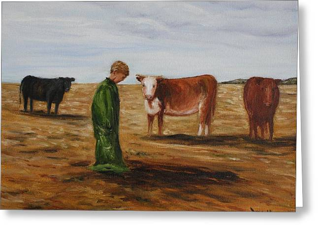 Farmlife Greeting Cards - In Dads Overhauls Greeting Card by Donna Muller