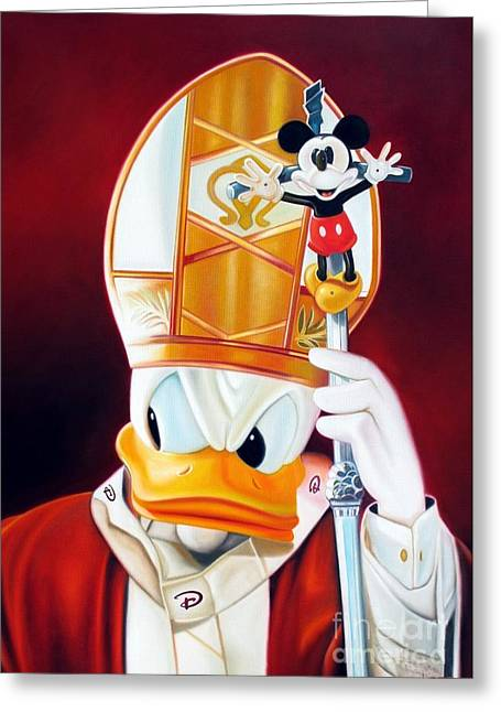 Funny Police Comic Greeting Cards - In Disney I Trust Greeting Card by Michael Loeb