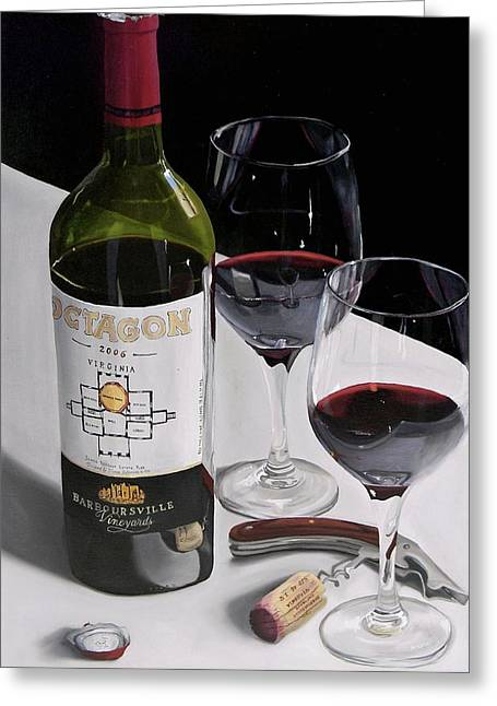 Red Wine Prints Greeting Cards - In Due Time Greeting Card by Brien Cole
