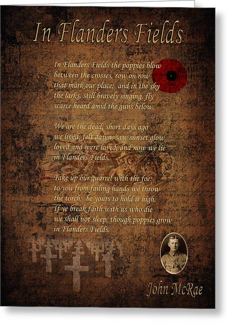 Rememberance Greeting Cards - In Flanders Fields 2 Greeting Card by Andrew Fare