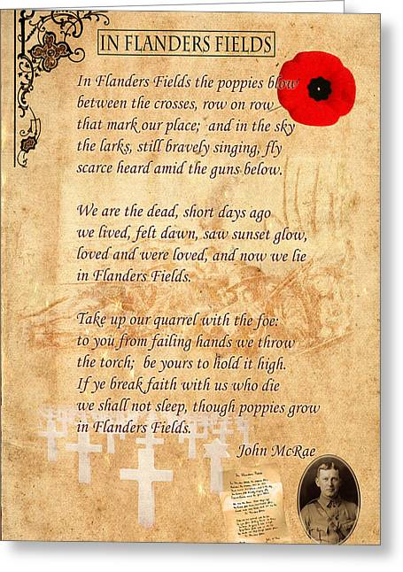 Rememberance Greeting Cards - In Flanders Fields Greeting Card by Andrew Fare