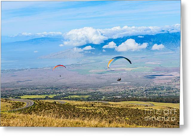 Above The Clouds Greeting Cards - In Flight - paragliders taking off high over Maui. Greeting Card by Jamie Pham