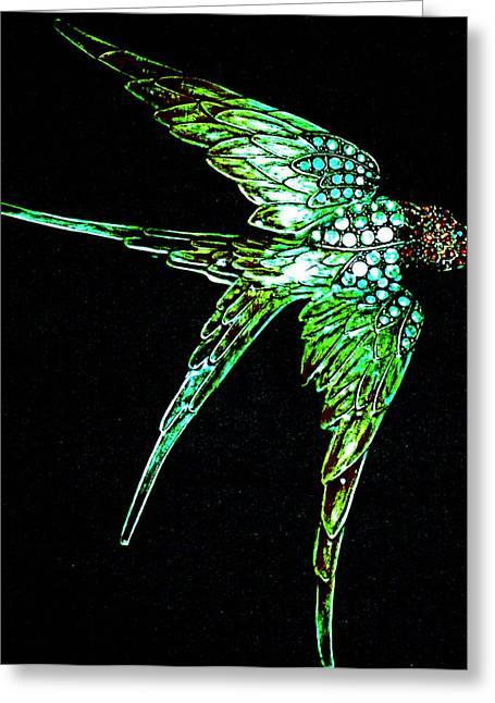 Art Product Mixed Media Greeting Cards - In Flight Greeting Card by Debra  Barrington