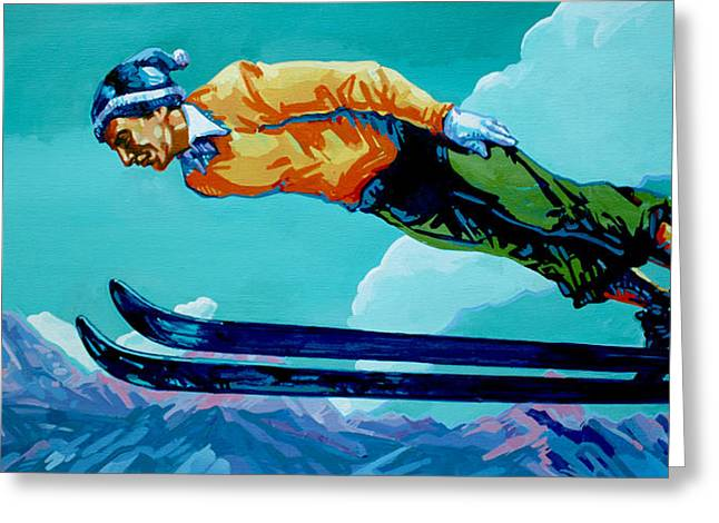 Ski Jumping Greeting Cards - In Flight Greeting Card by Derrick Higgins