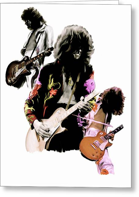 Led Zeppelin Prints Greeting Cards - In Flight IV Jimmy Page  Greeting Card by Iconic Images Art Gallery David Pucciarelli