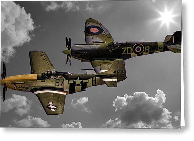 Plane Greeting Cards - In Flight Greeting Card by Martin Newman