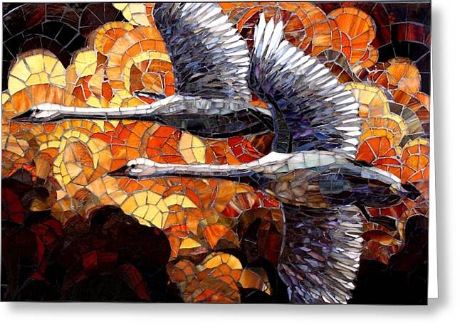 Birds Glass Art Greeting Cards - In Flight Greeting Card by Sandra Bryant