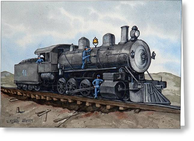 Landscapes Ceramics Greeting Cards - In For Maintenance - Engine 41 Greeting Card by Dan Krapf