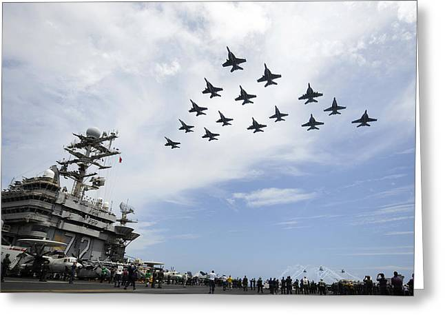 Jet Greeting Cards - In Formation Greeting Card by Mountain Dreams