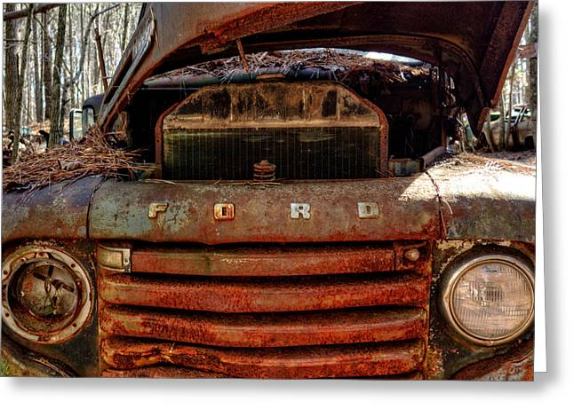 Old Trucks Greeting Cards - In Front of an Old Rusty Ford Truck Greeting Card by Greg Mimbs
