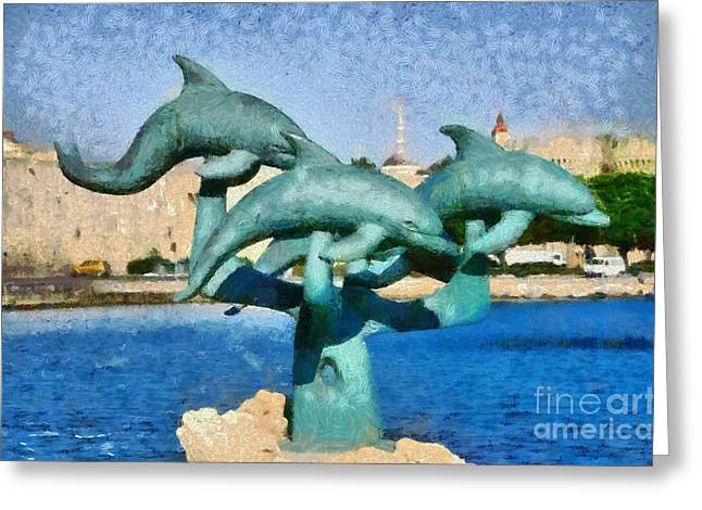Rhodes Greeting Cards - In front of the old city of Rhodes Greeting Card by George Atsametakis