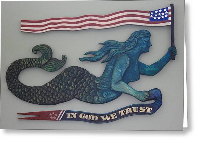 Lady Reliefs Greeting Cards - In God We Trust Mermaid Greeting Card by James Neill